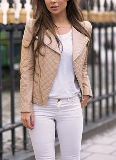 So beautiful cream jacket white t-shirt jeans. Street spring Women fashion outfit clothing style apparel @roressclothes closet ideas