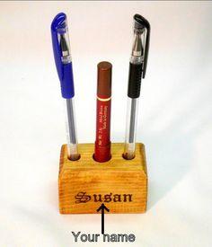 Wood Pen Holder Fountain Pen Holder Desk by WoodenWorldWilliams