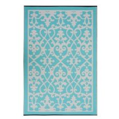World Venice Cream / Turquoise Contemporary Indoor/Outdoor Rug 5x8 $79