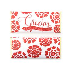 Gracias Papel Picado Fiesta Personalized Candy Bar Wrapper from Sweet Paper Shop | Overwraps a Hershey's 1.55 oz Chocolate | Printed on shimmer paper. Foils included.