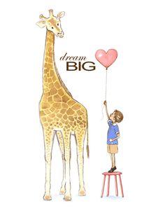 Nursery Wall Art Dream Big Giraffe and by PhyllisHarrisDesigns, $25.00