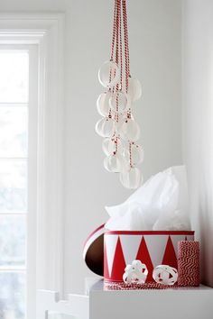 we could use the string beads instead of ribbon.   we have tons of beads left over.