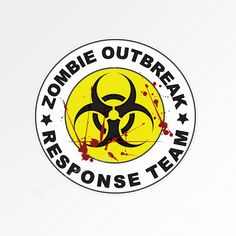 Zombie Outbreak Response Team. Funny car bumper sticker decal 95 x 95mm (3.75 inches). For those who are prepared for the zombie apocolypse, this is the perfect size for a car window, without being too ostentatious.  $3.95