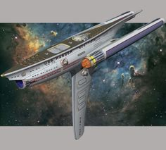 USS Ranger by WideFoot on deviantART. Not sure what function the huge fin has but pretty cool