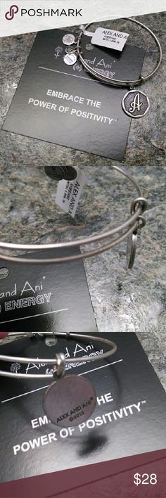Alex & Ani Initial A Charm Bangle Bracelet Silver Bangle Bracelets With Charms, Bangles, Gold Gift Boxes, Alex Ani, Initials, Charmed, Gifts, Accessories, Things To Sell