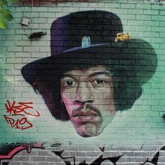 100% freehand spraypainted graffiti portrait of Jimi Hendrix  by Akse (P19 Crew) - Antwerpt Mansion Manchester UK