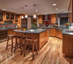 Island, countertop, cabinets