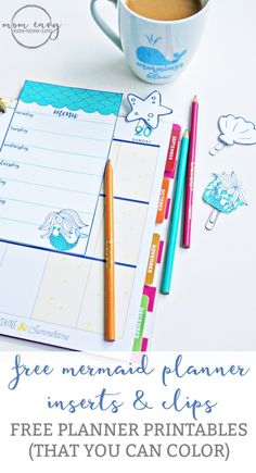 Mermaid Planner Inserts and Clips from Mom Envy. Free Printable mermaid planner accessories. Free mermaid planner inserts and free mermaid planer clips available in PDF, JPEG, and Silhouette Files. Free planner printables ready to download.