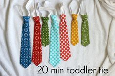 diy toddler tie pattern and tutorial. I made a tie for my 3-year-old out of green gingham for Easter. It took about 20 minutes -- so cute and easy! My big boys and nephews want some now! :)