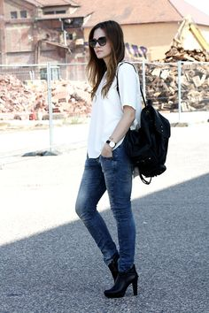 More looks by Maria Schwandt: http://lb.nu/vanillajungle  #denim #backpack #whitetee #sachashoes