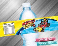Mickey Roadster Racers Water Bottle Label
