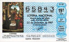 Décimo de Lotería de Navidad del año 1987 - «LA NATIVIDAD»