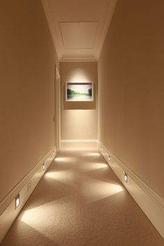 Find your way to the bathroom in the middle of the night by using baseboard lights. #lightingtips