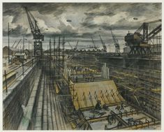 """""""Southampton Dock"""" watercolour and crayon by Alan Sorrell in Tooting, London. The construction of part of the Mulberry Harbour works. A portable harbour used to facilitate the invasion of Normandy in National Museum Of Wales, Industrial Paintings, University Of Southampton, Graffiti, Roman Britain, Propaganda Art, Tate Gallery, Royal College Of Art, Sense Of Place"""