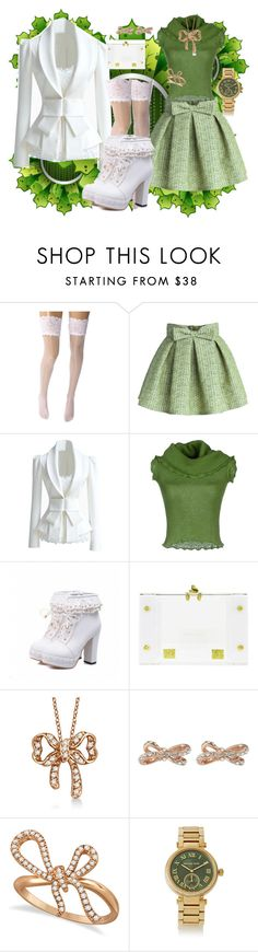 """""""Adorbs Greens"""" by tobyb976 ❤ liked on Polyvore featuring Wolford, Chicwish, Richmond X, Nadia Gabriella, Allurez, Kate Spade and Michael Kors"""