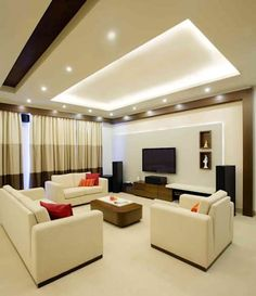 Narayana Rao_ Parrys Interior Decoration_ Site photos: modern Living room by Arcmen kitchens And Interiors House Ceiling Design, Ceiling Design Living Room, Bedroom False Ceiling Design, Room Design Bedroom, Bedroom Furniture Design, Home Room Design, Interior Design Living Room, Interior Decorating, Room Interior