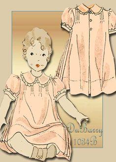 1930s Dress Pattern Vintage DuBarry 1034B