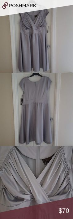 Stop staring swing dress fit and flare satin Beautiful retro v neck gathered bodice fit and flare zip back cap sleeves, nice thick satin fabric perfect party dress, wedding, cocktail NWT Stop Staring Dresses