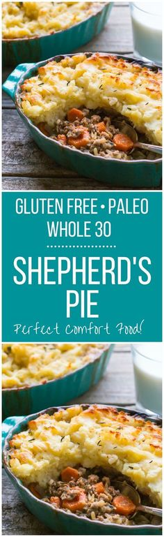The BEST recipe for Gluten Free Shepherds Pie! It's easy to make it Paleo or Who… The BEST recipe for Gluten Free Shepherds Pie! It's easy to make it Paleo or Whole 30 too, perfect comfort food for your whole family! Whole 30 Diet, Paleo Whole 30, Whole 30 Meals, Whole 30 Snacks, Whole 30 Lunch, Whole Food Recipes, Cooking Recipes, Healthy Recipes, Whole30 Recipes