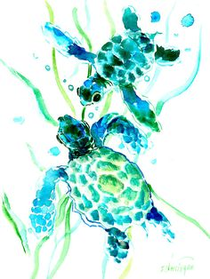 Turquoise Indigo Sea Turtles Painting by Suren Nersisyan