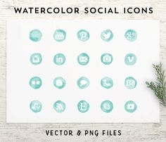 Teal Watercolor Social Media Icons  Vector & PNG by IndieGrace