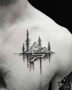 Mountain tattoo on the chest - Styleoholic
