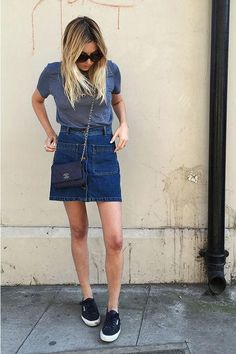 Cute denim skirt outfit idea, starring Camille Over the Rainbow