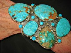 NAVAJO EXTRAVAGANT HUGE BLUE TURQUOISE CUFF,144 grams, LYDIA BEGAY