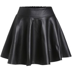 Black Faux Leather Elastic Waist Flare Skirt (€6,97) ❤ liked on Polyvore featuring skirts, mini skirts, bottoms, jupe, saias, black, skater skirt, faux leather flared skirt, mini skater skirt and mini circle skirt