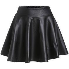 Black Faux Leather Elastic Waist Flare Skirt ($6.65) ❤ liked on Polyvore featuring skirts, mini skirts, saias, black, vegan leather mini skirt, faux leather circle skirt, flared skirts, mini skirt and faux leather flared skirt