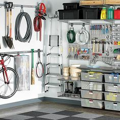 My garage WILL look like this when I'm finished with it.The Container Store > Platinum elfa utility Deluxe Garage Solution Elfa Shelving, Garage Shelving, Garage Shelf, Shelving Units, Garage Doors, Utility Shelves, Garage Laundry, Garage Attic, Garage Workbench