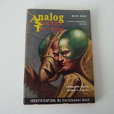 Vintage 1961 Analog Science Fact & Fiction Magazine Arthur C Clarke Space Sci-Fi Aliens Moon Sci-Fi Book by VintageBlackCatz on Etsy