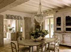 Distressed Doors, Table & Cupboard, Crystal Chandelier & Pediment- I ♥ The Look!