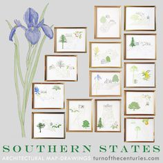 Choose 3 of the 50 State Map Prints (and save 25%!) to send to friends, decorate a nursery or childs room, or any room, as a set of Special