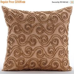 10% THANKSGIVING SALE Decorative Throw Pillow Covers Accent Couch Sofa Toss Pillows 16x16 Inches Beige Silk Pillow Cover Beads Embroidery Go