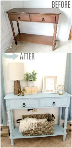 """Beautiful """"beachy"""" blue side table makeover with chalk paint. Try Blake & Taylor… Beautiful """"beachy"""" blue side table makeover with chalk paint. Try Blake & Taylor Chalk Furniture Paint in 'French Blue' for a slight variation on this project! Refurbished Furniture, Paint Furniture, Repurposed Furniture, Vintage Furniture, Furniture Design, Furniture Ideas, Furniture Websites, Furniture Movers, Rustic Furniture"""
