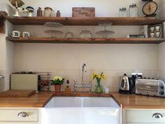 Roses and Rolltops : Kitchen  - Scaffold Board Shelves DIY Belfast Sink