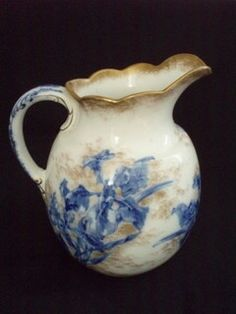 Antique Doulton Transferware Pitcher Iris