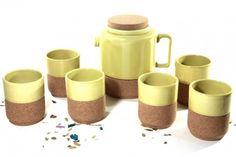 Cork Whistler Green Tea Pot + 6 cups set  Buy here: http://www.corkway.com/cork-ceramics/128-cork-whistler-green-tea-pot-6-cups-set.html $78.34