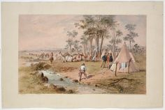 Burke and Wills Expedition / Samuel Thomas Gill. 3. Camp at Cooper's Creek