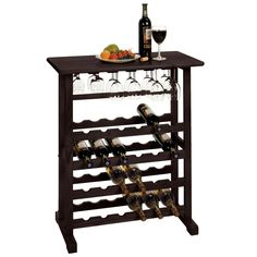 Picking up a bottle of wine at the store here and there is easy enough, but where to store all those bottles? This 24-Bottle Wine Rack Table with Stemware Glass Hanging Rack makes it easy to solve you