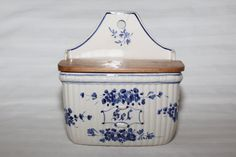 Antique french hanging salt box. Blue and white porcelain with its original wood cover
