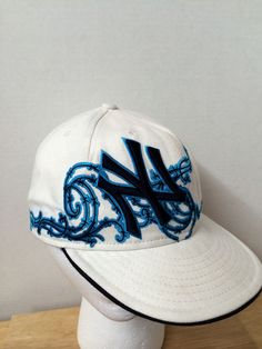 NEW YORK YANKEES NEW ERA 59FIFTY FITTED 7 3 8 BLUE TRIBAL BASEBALL HAT CAP   NewEra  NewYorkYankees 4d9eddacb