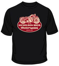 Biker T-Shirts for Men | Black Nicholson Bros. Motorcycles T-shirts
