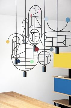 Barcelona design studio Goula/Figuera's collection of Lines & Dots hanging lighting is based on thousands of drawings Design Light, Lamp Design, Interior Lighting, Lighting Design, Geometric Lamp, Dining Room Lighting, Design Studio, Design Furniture, Lighting Solutions