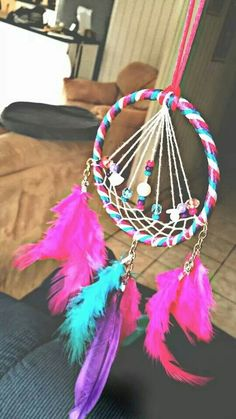 Majestic Pink, Blue, Purple & White Dreamcatcher... This is my Art