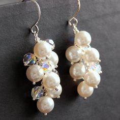 Bridal Earrings, White Pearl and Swarovski Crystal Cluster Earrings, Clear Aurora Borealis Crystal Earrings, Sterling Silver Earwires on Etsy, $62.00