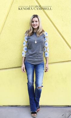 The LuLaRoe Randy tee takes the traditional baseball-sleeve raglan tee up a notch by adding fun patterns to the sleeves (or the body). Click to shop via my facebook VIP group!