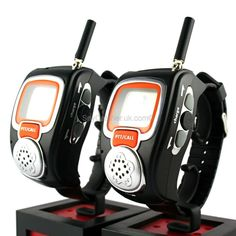 Wrist -Watch Walkie Talkie ~ These walkie talkie watches are great fun for both kids and grown-ups, and make a great gift for anyone who loves spy gadgets.    Incredibly easy to use, simply strap the walkie talkie watches on to your wrist and you've got an instant communications link within up to a three mile radius. These watches are great for hiking trips, skiing holidays and especially for junior agents storming the enemy's base.