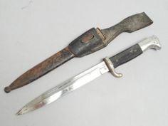 Estate-Found-German-WWII-Emil-Voos-Solingen-Bayonet-w-Leather-Hanger-Scabbard